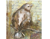 Giclee print on cotton fabric - Bird Collage