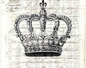 Vintage CROWN Art Print on ANTIQUE LEDGER Book Page 1840s Vintage. Large Size 10 x 14 inches. Handmade by The Decorated House