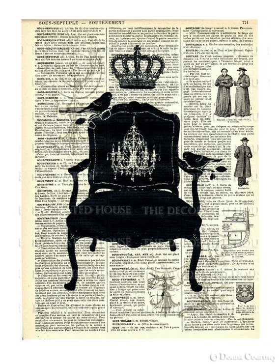 FRENCH  CHAIR Art Print  on Antique Vintage French Book Page Over 100 years old.  8.5 x 11.5 inches.