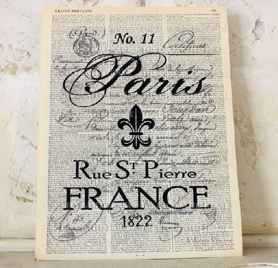 PARIS Art Printed on Antique FRENCH Book Page. Vintage Over 100 years old.  8.5 x 11.5 inches. The Decorated House