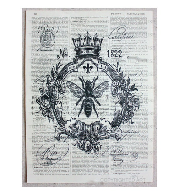 Queen BEE Art Printed on Antique FRENCH Book Page. Vintage Paper about 100 years old.  8.5 x 11.5 inches. The Decorated House