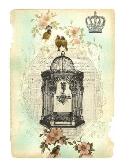 bird cage art print vintage style crown chandelier. Black Bedroom Furniture Sets. Home Design Ideas