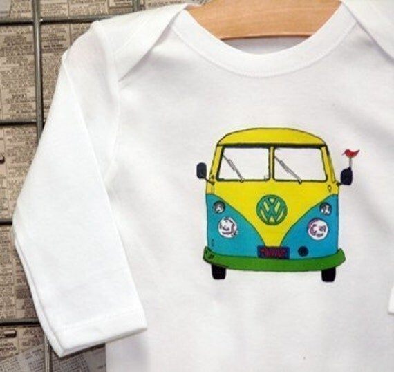 LONG SLEEVE TEE in White -NEW VW Van- Love Child ---BUY ANY TWO OR MORE ITEMS, GET 1 FREE TEE OR Bodysuit\/One Piece...