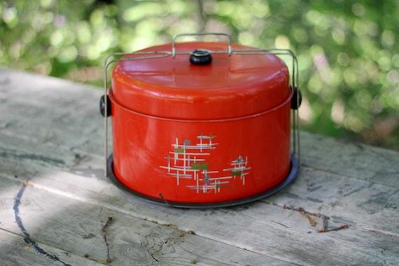 Vintage Red/Orange Cake Carrier