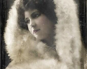 Instant Download Vintage Christmas  Winter White Fur Coat Woman Digital Download Commercial Use Digital Graphics