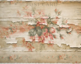 Decoupage Paper Printable Art Distressed Cottage Instant Download Digital  Vintage Postcard Shabby Chic Download Texture Commercial Use