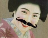 Collage Art Geisha Mustache Moustache