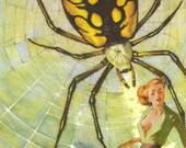 Original Mixed Media Collage Art Spider Web Arachnophobia Surreal Decor Spider Wall Art Edgy Art Strange Artwork