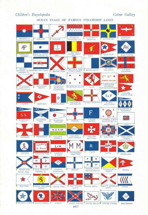 Vintage Ephemera Pack Flag Clip Art Historical Nautical Flags