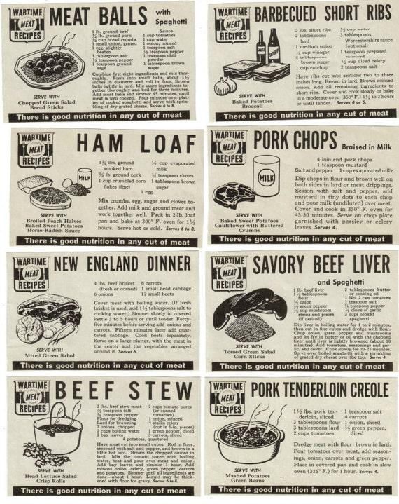 World War II Meat Recipes Vintage Ephemera Pack World War 2