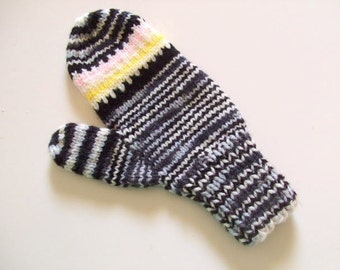 Handknit Mittens - Black and Yellow Mittens - For Women and Teens