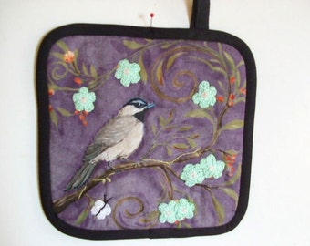 Fabric Potholder - Bird Print with Hand Crocheted Flowers, I Love Birds - Lots of People Do