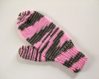 Handknit Mittens - Chocolate Swirl  -- Pink  - (Adult Size)
