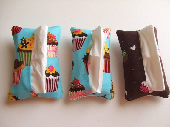 Tissue Holders with Hand Sanitizer Pockets - Set of 3 in Cupcake Design