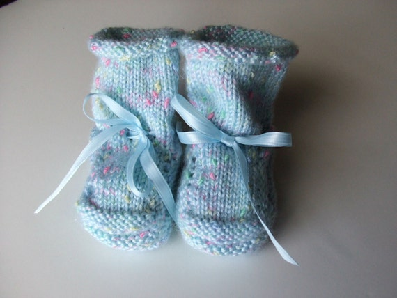 Hand knit Baby Booties - Blue  -  Why I made them