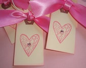 CORA PAIGE Pink Filigree Heart Mini Gift Tag Set of 5