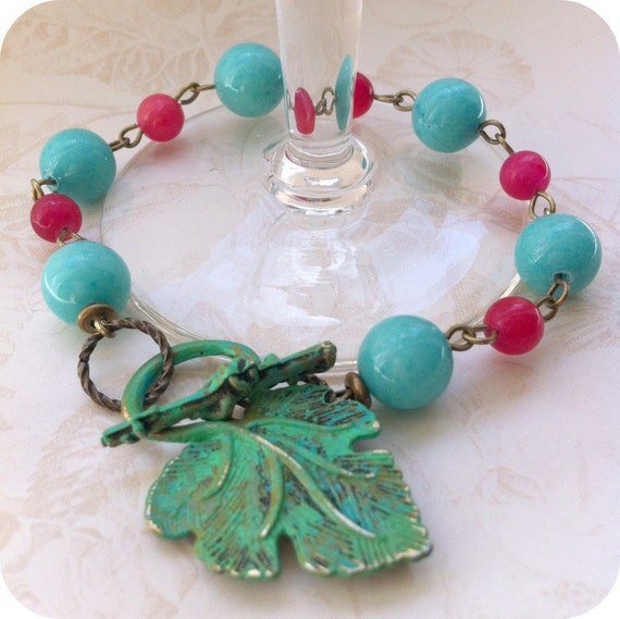 SHOP CLOSING SALE - Beaded Patina Bracelet - Dragonfruit