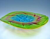 Lime Chiffon Spinner - Hand Blown Glass Platter