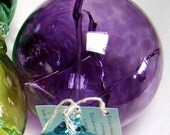 Hand Blown Glass Witch Ball - Purple