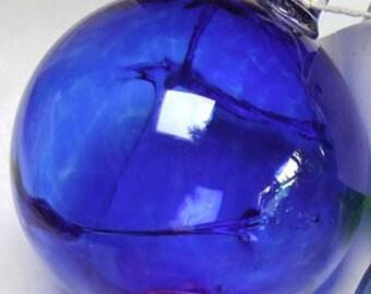Hand Blown Glass Witch Ball - Cobalt Blue