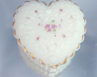 Fenton Heart Box Tiny Flowers Raised Roses Vintage Hand Painted