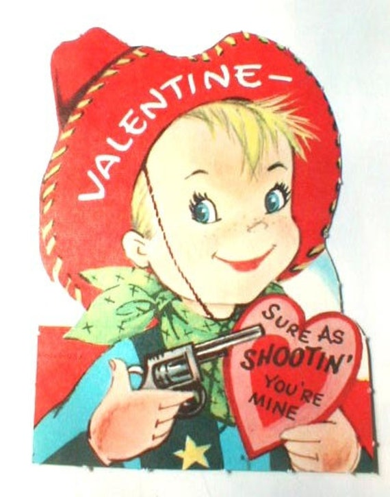 Vintage 1950s Early 60s Valentine Card Cowboy