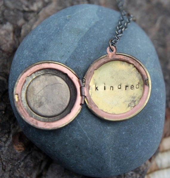kindred . a (whispered) hand stamped soul mantra locket