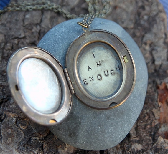 i am enough . a (whispered) hand stamped soul mantra locket