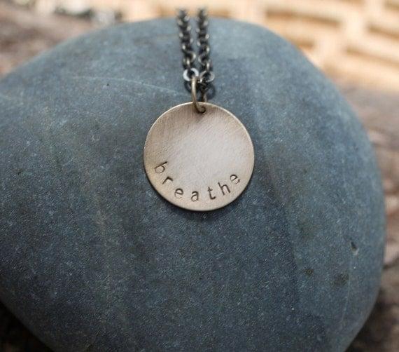 breathe . a soul mantra circle necklace