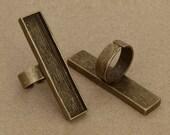 3pcs 12x53mm  antique bronze  Pewter blank bezel rectangle ring