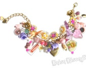 PINK AND YELLOW TOY GARDEN charm bracelet RESERVED FOR carme