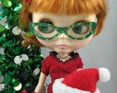 Doll Glasses for Blythe -- Catty-B in Green Holly -- PAIR A