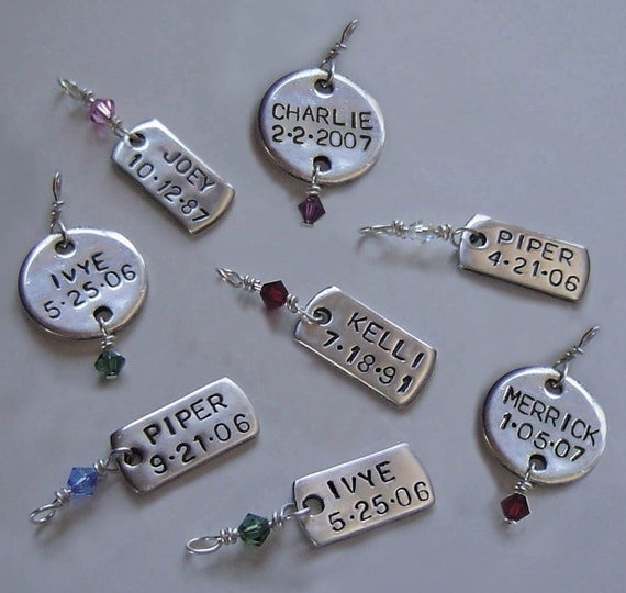 Fine Silver Personalized CHARM for Your Bracelet or Necklace - DISC or SQUARE - You Choose