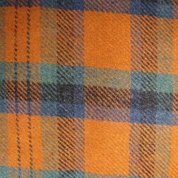 Cloth Fabric Wool Tartan Plaid Burnt Orange Teal Blue Black