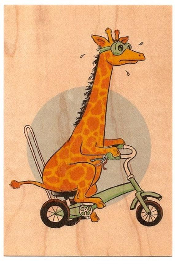 Wood Postcard - Giraffe