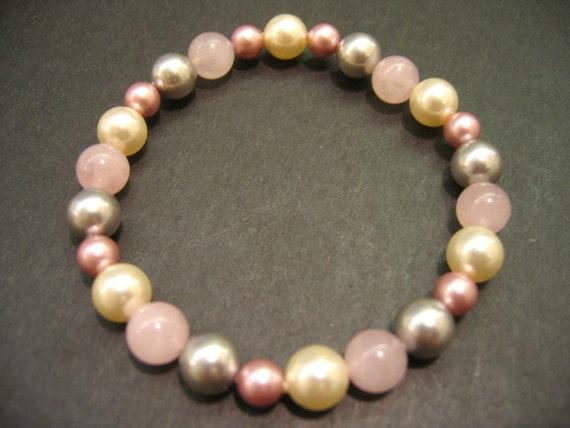 Glass Pearl and Rose Quartz Bracelet