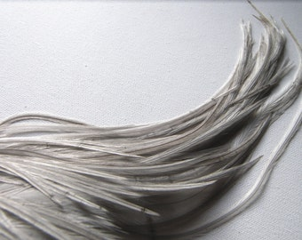 10 Silvery Gray SKINNY Hair Feather Extensions, 8 to 10 Inches Long