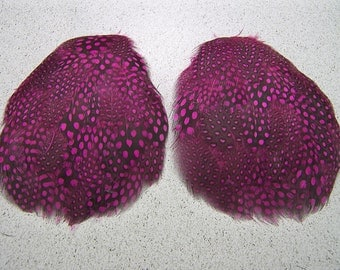2 PINK Guinea Feather Pads, Black with Pink Polka Dots, Guinea Feathers