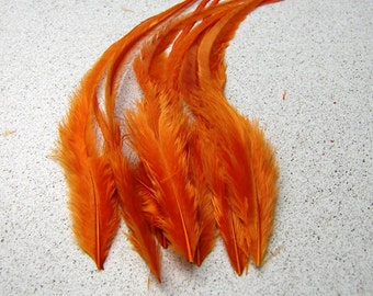 SOLID ORANGE Rooster Feathers, PREMIUM 7-9 Inches Long, 4 Pcs