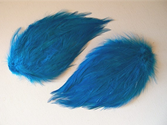 2 Feather Pads in DARK TURQUOISE Jewel Tones Blue