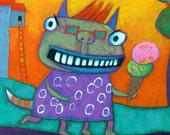 Gertie - Green Monster Limited Edition Giclee Print -14 X 11 Teal Green Mat - From an original painting by Annie Lunsford