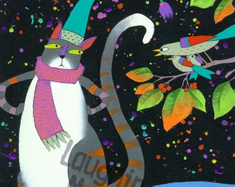 """Cat Art - Fits 12"""" X 16"""" Mat - Limited Edition Giclee Print """"Move It Tuna Breath"""" Grey Striped Whimsical Cat with Scarf - Funny Stocking Cap"""