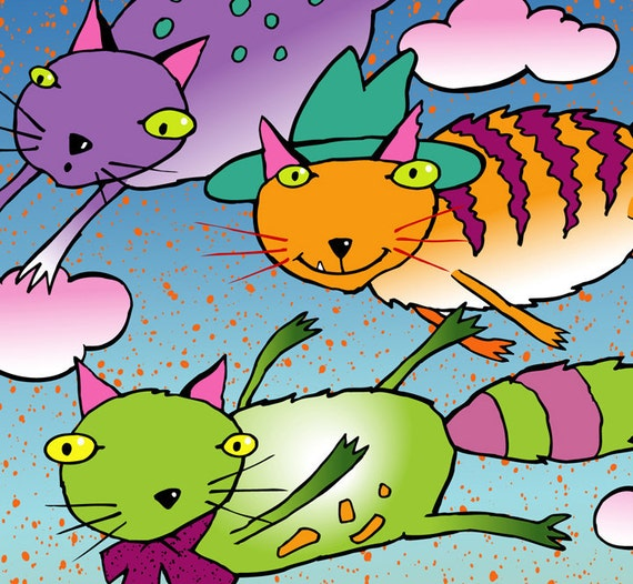 """Three Flying Cats - Limited Edition Giclee Print in a 11 X 14 Lavender Mat Colorful Cat Print - """"Its Kind of Fun to Do the Impossible!"""""""
