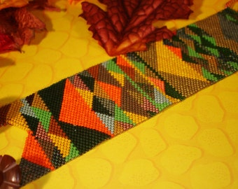 The Beads of Autumn  Beadwoven Peyote Cuff Bracelet