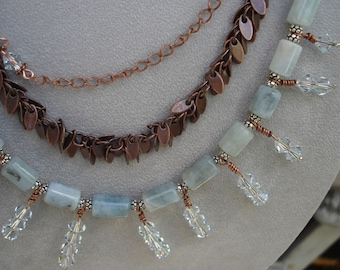 Statement Necklace  Just Before Dawn  3 Strand Copper and Gem