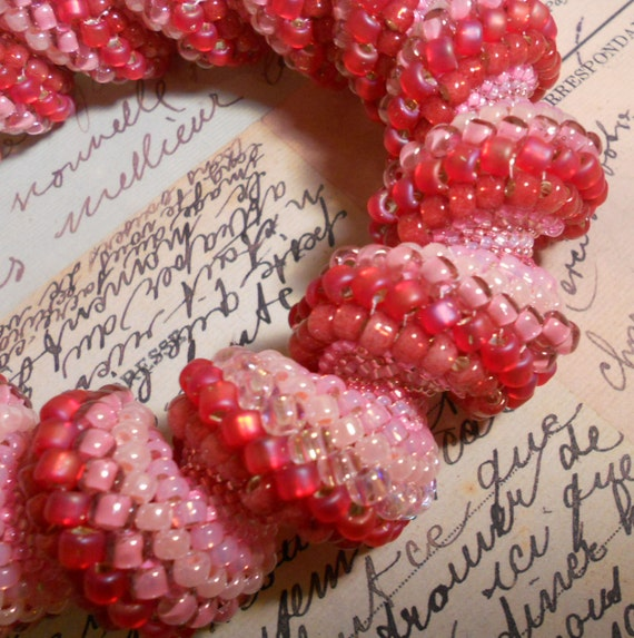 Strawberries and Cream Swirl Bracelet Bangle  Cellini Spiral Style