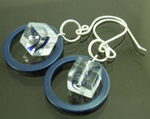 Sterling Silver and Glass Earrings - ''Blue Swirl Cube''