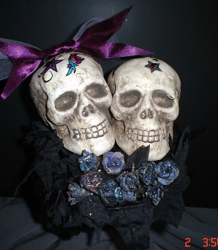 GOTHIC TATTOO SKULL COUPLE WEDDING CAKE TOPPER By Pammaro On Etsy
