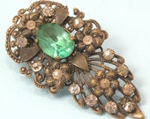 Vintage Art Deco 1940s Czech style, filigree and paste dress clip