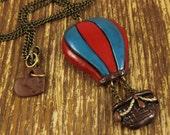 Hot Air Balloon Polymer Clay Necklace